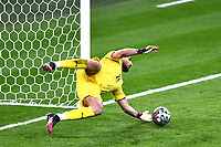 6th July 2021; Wembley Stadium, London, England; Euro 2020 Football Championships semi-final, Italy versus Spain;  Gianluigi Donnarumma saves a penalty in the final penalty shoot-out