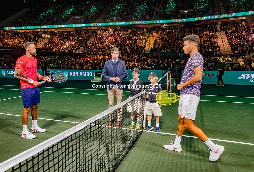 Rotterdam, The Netherlands, 16 Februari 2020, ABNAMRO World Tennis Tournament, Ahoy,<br /> Mens Final: Gaël Monfils (FRA) (L) and  Felix Auger-Aliassime (CAN) at the toss<br /> Photo: www.tennisimages.com