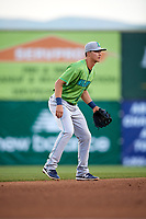 Lynchburg Hillcats shortstop Luke Wakamatsu (12) during a game against the Salem Red Sox on May 10, 2018 at Haley Toyota Field in Salem, Virginia.  Lynchburg defeated Salem 11-5.  (Mike Janes/Four Seam Images)