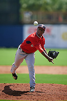 GCL Red Sox pitcher Algenis Martinez (58) delivers a pitch during the first game of a doubleheader against the GCL Rays on August 4, 2015 at Charlotte Sports Park in Port Charlotte, Florida.  GCL Red Sox defeated the GCL Rays 10-2.  (Mike Janes/Four Seam Images)