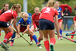 GER - Mannheim, Germany, October 09: During the women hockey match between Mannheimer HC (blue) and Ruesselsheimer RK (red) on October 9, 2016 at Mannheimer HC in Mannheim, Germany. Final score 6-0 (HT 1-0). (Photo by Dirk Markgraf / www.265-images.com) *** Local caption *** Lydia Haase #12 of Mannheimer HC