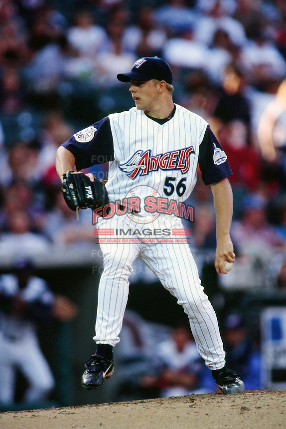 Jarrod Washburn of the Anaheim Angels during a game circa 1999 at Angel Stadium in Anaheim, California. (Larry Goren/Four Seam Images)