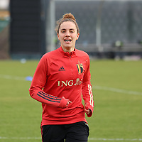 Chloe Vande Velde pictured during the training session of the Belgian Women's National Team ahead of a friendly female soccer game between the national teams of Germany and Belgium , called the Red Flames in a pre - bid tournament called Three Nations One Goal with the national teams from Belgium , The Netherlands and Germany towards a bid for the hosting of the 2027 FIFA Women's World Cup ,on 19th of February 2021 at Proximus Basecamp. PHOTO: SEVIL OKTEM | SPORTPIX.BE