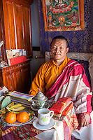 Bodhnath, Nepal.  Master Buddhist Monk, Sherpa Buddhist Shedrub Center.