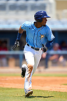 FCL Rays shortstop Willy Vasquez (96) runs to first base during a game against the FCL Twins on July 20, 2021 at Charlotte Sports Park in Port Charlotte, Florida.  (Mike Janes/Four Seam Images)