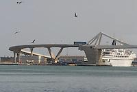 """- Barcelona, """"gate of Europe"""" harbour mobile bridge....- Barcellona, ponte mobile del porto """"La Porta d'Europa""""...."""