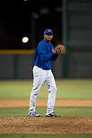 AZL Cubs 1 relief pitcher Riger Fernandez (47) gets ready to deliver a pitch during an Arizona League game against the AZL Padres 1 at Sloan Park on July 5, 2018 in Mesa, Arizona. The AZL Cubs 1 defeated the AZL Padres 1 3-1. (Zachary Lucy/Four Seam Images)