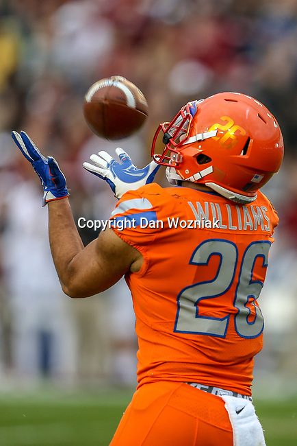 Boise State Broncos cornerback Avery Williams (26) during the Servpro First Responder Bowl game between Boise State Broncos and Boston College Eagles at the Cotton Bowl Stadium in Dallas, Texas.