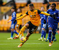 7th February 2021; Molineux Stadium, Wolverhampton, West Midlands, England; English Premier League Football, Wolverhampton Wanderers versus Leicester City; Willian José of Wolverhampton Wanderers tries to control the ball and turn in the box