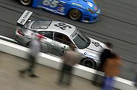 The #36 Porsche speed through the tri-oval..39th Rolex 24 at Daytona, 3/4 February,2001 Daytona International Speedway  Daytona Beach,Florida,USA.©F.Peirce Williams 2001 ..