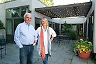 Aug, 23, 2013; Owners, Edward Noonan '53 and wife Eve,  on their patio at Tryon Farm in Michigan City, IN. Photo by Barbara Johnston/University of Notre Dame