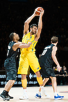 Melbourne, 15 August 2015 - Andrew BOGUT of Australia in action during game one of the 2015 FIBA Oceania Championships in men's basketball between the Australian Boomers and the New Zealand Tall Blacks at Rod Laver Arena in Melbourne, Australia. Aus def NZ 71-59. (Photo Sydney Low / sydlow.com)