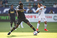 CARSON, CA - MAY 8: Jesus David Murillo #94 of LAFC traps a ball during a game between Los Angeles FC and Los Angeles Galaxy at Dignity Health Sports Park on May 8, 2021 in Carson, California.