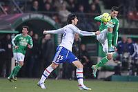 Danijel Aleksic (saint etienne) vs Milan Bisevac (lyon) .Football Calcio 2012/2013.Ligue 1 Francia.Foto Panoramic / Insidefoto .ITALY ONLY