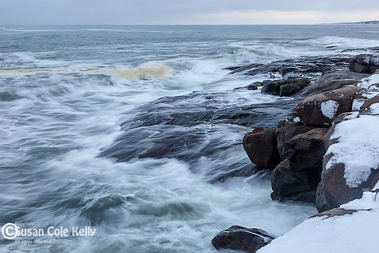 Storm surf on Cape Neddick in York, Maine, USA
