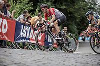 Nikolas Maes (BEL/Lotto Soudal) cornering. <br /> <br /> 11th Heistse Pijl 2018<br /> Turnhout > Heist-op-den Berg 194km (BEL)