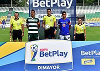 PALMIRA - COLOMBIA, 10-03-2021: Orsomarso S. C. vs Valledupar F. C. durante partido de la fecha 1 ida primera ronda de clasificacion Copa Betplay DIMAYOR 2021 en el estadio Francisco Rivera Escobar en la ciudad de Palmira. / Orsomarso S.C. vs Valledupar F. C. during a match of the 1st date round of qualification Betplay DIMAYOR 2021 Cup at the Francisco Rivera Escobar in Palmira city. / Photo: VizzorImage. / Jorge Rotavinsky /Cont.