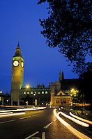 Big Ben, Parliament and street at night. London, England. London, England.
