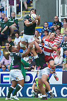 Bryn Evans of London Irish secures the re-start ball during the Aviva Premiership match between London Irish and Gloucester Rugby at the Madejski Stadium on Saturday 8th September 2012 (Photo by Rob Munro)