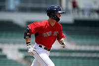 GCL Red Sox center fielder Caleb Ramsey (39) runs to first base during a game against the GCL Orioles on August 9, 2018 at JetBlue Park in Fort Myers, Florida.  GCL Red Sox defeated GCL Orioles 10-4.  (Mike Janes/Four Seam Images)