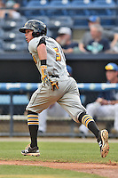 West Virginia Power second baseman Mitchell Tolman (5) runs to first during a game against the Asheville Tourists at McCormick Field on June 23, 2016 in , North Carolina. The Tourists defeated the Power 3-2. (Tony Farlow/Four Seam Images)