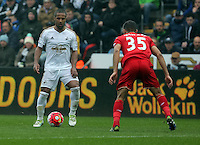 (L-R) Wayne Routledge of Swansea City against Kevin Stewart of Liverpool  during the Barclays Premier League match between Swansea City and Liverpool at the Liberty Stadium, Swansea on Sunday May 1st 2016