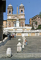 Italy: Rome--Spanish Steps. Built in 18th C. by De Sanctis and Specchi.  At Summit, Church of the Trinity of the Mountains, 16 C. Photo '82.