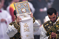 Clergymen attend an Armenian-Rite Mass .Pope Francis in the Sunday's Mass in the Armenian Catholic rite at Peter's Basilica  at the Vatican, on April 12, 2015.
