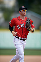 Erie SeaWolves center fielder Mike Gerber (17) jogs back to the dugout during a game against the Reading Fightin Phils on May 18, 2017 at UPMC Park in Erie, Pennsylvania.  Reading defeated Erie 8-3.  (Mike Janes/Four Seam Images)