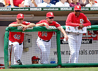 11 June 2006: Washington Nationals coaches Randy St. Claire (left), Eddie Rodriguez (center) and manager Frank Robinson (right) look onto the field of play during a games against the Philadelphia Phillies at RFK Stadium, in Washington, DC. The Nationals shut out the visiting Phillies 6-0 to take the series three games to one...Mandatory Photo Credit: Ed Wolfstein Photo..