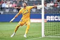10th February 2021; Bankwest Stadium, Parramatta, New South Wales, Australia; A League Football, Western Sydney Wanderers versus Melbourne Victory; Max Crocombe of Melbourne Victory stays close to his near post as the high ball is crossed in