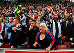 Stoke City 1 West Bromwich Albion 1, 24/09/2016. Bet365 Stadium, Premier League. West Brom fans celebrate the injury time equalising goal scored by José Salomón Rondón. Photo by Paul Thompson.