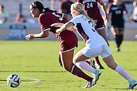 Texas A&M defender Karlie Mueller (3) and South Carolina forward Sophie Groff (5) go after the ball during NCAA soccer game, Sunday, October 26, 2014 in College Station, Tex. South Carolina draw 2-2 against Texas A&M in double overtime. (Mo Khursheed/TFV Media via AP Images)