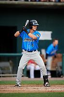 Akron RubberDucks third baseman Sam Haggerty (8) at bat during a game against the Harrisburg Senators on August 18, 2018 at FNB Field in Harrisburg, Pennsylvania.  Akron defeated Harrisburg 5-1.  (Mike Janes/Four Seam Images)