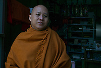 FILE PHOTO - 2016 Portrait of Buddhist Nationalist monk Ashin WIRATHU in Mandalay, MYANMAR.<br /> <br /> PHOTO : Marella Oppenheim - Agence Quebec Presse