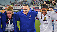 JACKSONVILLE, FL - NOVEMBER 10: Alyssa Naeher #1, Vlatko Andonovski and Jessica McDonald #22 of the United States celebrate their victory during a game between Costa Rica and USWNT at TIAA Bank Field on November 10, 2019 in Jacksonville, Florida.