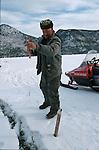 Dès la fin décembre, la population locale prend ses quartiers d'hiver sur le fjord du Saguenay pour s'adonner à la pêche blanche . A l'Anse Saint jean, à Sainte Rose du Nord et dans la baie de Ha ha de veritables villages formés de centaines de cabanes multicolores  s'installent en quelques jours sur la glace..Quebec Canada