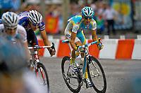Astana cyclist, Jesus Hernandez Blazquez, sprints down the outside of the peleton in Paris, France