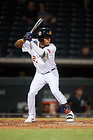 Mesa Solar Sox Jose Azocar (27), of the Detroit Tigers organization, at bat during an Arizona Fall League game against the Peoria Javelinas on September 21, 2019 at Sloan Park in Mesa, Arizona. Mesa defeated Peoria 4-1. (Zachary Lucy/Four Seam Images)