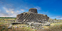 Picture and image of the exterior walls of the prehistoric magalith ruins of Santu Antine Nuraghe tower and nuragic village archaeological site, Bronze age (19-18th century BC), Torralba, Sardinia.