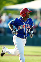 Auburn Doubledays Estarlin Martinez #27 during a game against the Tri-City ValleyCats at Falcon Park on July 29, 2012 in Auburn, New York.  Tri-City defeated Auburn 9-4.  (Mike Janes/Four Seam Images)