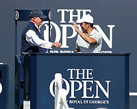 17th July 2021; Royal St Georges Golf Club, Sandwich, Kent, England; The Open Championship Golf, Day Three; amateur player Yuxin Lin (CHN) is greeted by the starter on the first tee