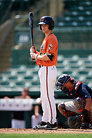 Baltimore Orioles Adam Hall (51) at bat during an Instructional League game against the Atlanta Braves on September 25, 2017 at Ed Smith Stadium in Sarasota, Florida.  (Mike Janes/Four Seam Images)