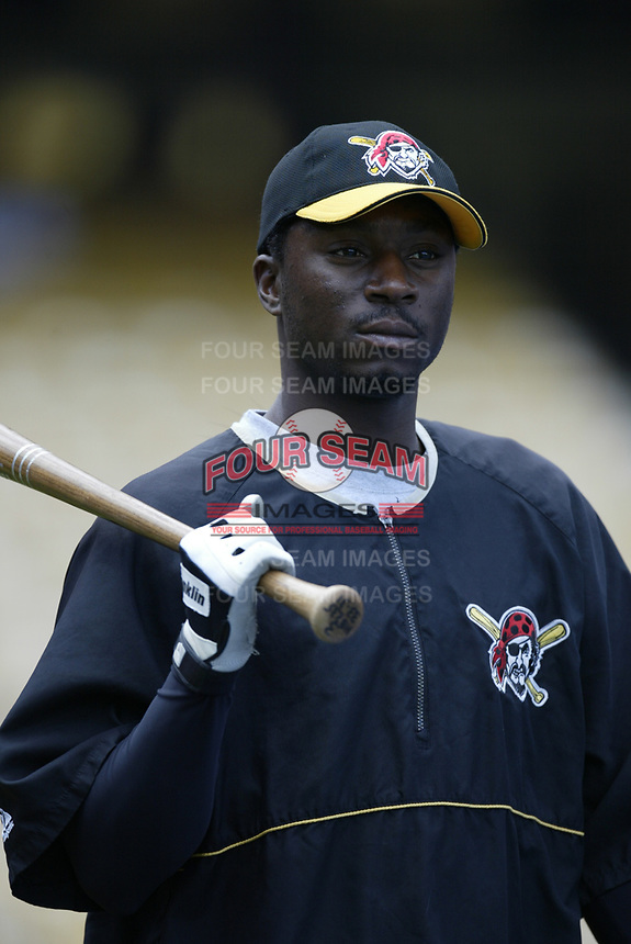 Pookey Reese of the Pittsburgh Pirates during a 2003 season MLB game at Dodger Stadium in Los Angeles, California. (Larry Goren/Four Seam Images)