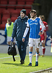St Johnstone v Aberdeen…13.12.17…  McDiarmid Park…  SPFL<br />Murray Davidson limps off injured with physio Tony Tompos<br />Picture by Graeme Hart. <br />Copyright Perthshire Picture Agency<br />Tel: 01738 623350  Mobile: 07990 594431