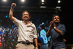 Spanish politician Pablo Iglesias and Alberto Garzon of Unidos Podemos party, after the results of the national elections at plaza Reina Sofia, Spain. 26,06,2016. (ALTERPHOTOS/Rodrigo Jimenez)