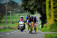 Auckland Grammar senior A u20 boys in action during the NZ Schools Road Cycling championship day one team time trials at Koputaroa Road near Levin, New Zealand on Saturday, 30 September 2017. Photo: Dave Lintott / lintottphoto.co.nz