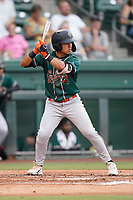 Second baseman Nick Gonzales (2) of the Greensboro Grasshoppers in a game against the Greenville Drive on Saturday, July 24, 2021, at Fluor Field at the West End in Greenville, South Carolina. (Tom Priddy/Four Seam Images)