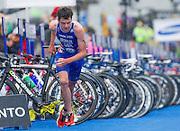 26 AUG 2012 - STOCKHOLM, SWE - Jonathan Brownlee (GBR) of Great Britain exits transition for the start of his run during the 2012 ITU Mixed Relay Triathlon World Championships in Gamla Stan, Stockholm, Sweden (PHOTO (C) 2012 NIGEL FARROW)