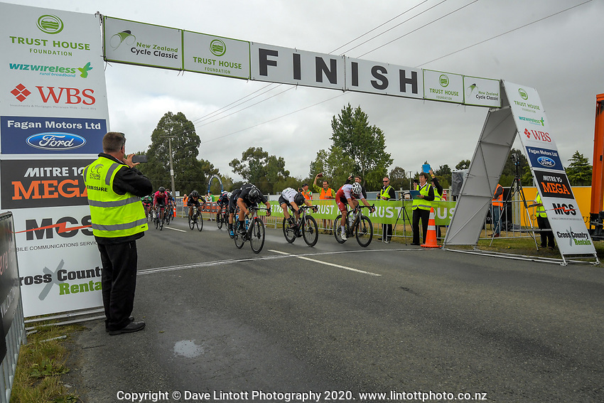 Campbell Stewart of New Zealand/New Zealand National Team (left of front three riders) wins stage two of the NZ Cycle Classic UCI Oceania Tour (Gladstone circuit) in Wairarapa, New Zealand on Thursday, 16 January 2020. Photo: Dave Lintott / lintottphoto.co.nz